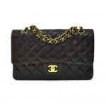 "Vintage Chanel Classic 10"" Double Flap Black Quilted Leather Shoulder Bag"