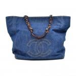 Vintage Chanel Denim & Tortoise Shell Style Strap Tote Bag