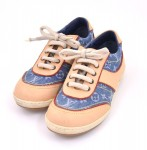 Louis Vuitton Denim x Brown Leather Kids Sneakers