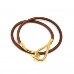 Hermes Brown Leather x Gold Tone Hook Double Wrap Jumbo Bracelet