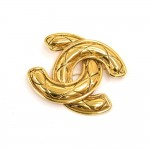 Vintage Chanel Jumbo Quilted Gold-tone CC Logo Brooch Pin