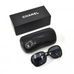 Chanel Black Oversized Quilted and CC Logo Sunglasses + Case 5124
