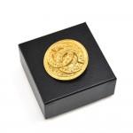 Vintage Chanel Etruscan Style Textured CC logo Round Medallion Brooch