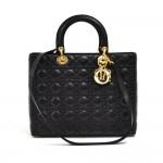 Vintage Dior Lady Dior Large Black Quilted Cannage Leather Shoulder Bag