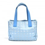 Chanel Travel Line Light Blue Jacquard Nylon Small Tote Bag