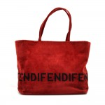 Fendi Red Velvet Logo Design Tote Bag
