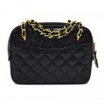 "Vintage Chanel 8"" Deep Navy Quilted Lambskin Leather Chain Mini Shoulder Bag"