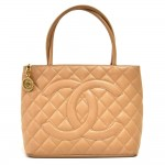 Chanel Revival Medallion Beige Quilted Caviar Leather Tote Handbag