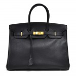 Vintage Hermes Birkin 35 Black Fjord Leather Gold Plated Hardware Handbag