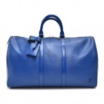 Vintage Louis Vuitton Keepall 45 Blue Epi Leather Travel Bag