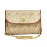 Vintage Dior Light Brown Honeycomb & Logo Coated Canvas Mini Chain Bag 1980s