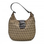 Fendi Beige & Brown Zucchino Canvas and Brown Leather Small Hobo Bag