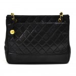 Vintage Chanel Black Quilted Lambskin Leather Medium Chain Shoulder Bag