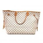 Louis Vuitton Neverfull GM Damier Azur Canvas Shoulder Tote Bag