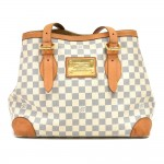 Louis Vuitton Hampstead MM White Azur Damier Canvas Tote Shoulder Bag