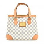 Louis Vuitton Hampstead PM White Azur Damier Canvas Shoulder Bag