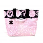 Chanel Pink Terry Cotton & Canvas Paint and CC logo Design Large Tote Bag