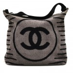 Chanel Grey Terry Cotton CC logo & Striped Sports Beach Bag