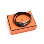 Hermes Hapi III Black Leather Silver Tone H Logo Wrap Bracelet