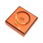 Hermes Brown Leather Gold -Tone Hook Jumbo Bracelet