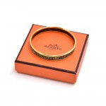 Hermes Fruits & Goddess Green Enamel and Gold Plated Narrow Bracelet Bangle -PM
