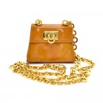 Salvatore Ferragamo Gancini Yellow Patent Leather Mini Chain Shoulder Pochette Bag