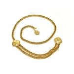 Vintage Chanel Gold - Tone Diamond Shaped Charms 2 Tiered Chain Belt 1980s