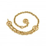 Vintage Chanel Gold-tone Medallion Etruscan Style 2 Tiered Chain Waist Belt