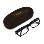 Tom Ford Black Rectangular Gold T Optical Eyeglasses TF5222 AF 001