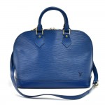 Vintage Louis Vuitton Alma Blue Epi Leather Handbag + Strap