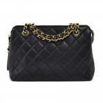 Chanel Black Quilted Lambskin Leather Chain Shoulder Bag