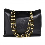 Vintage Chanel Jumbo XL Deep Navy Leather Shoulder Shopping Tote Bag