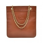 Vintage Chanel Brown Leather Flat CC Logo Tote bag