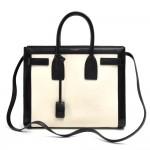 Saint Laurent Sac de Jour Black and White Calfskin Small Handbag + Strap