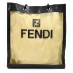 Fendi Zucca Logo Deep Green Mesh x Black Leather Tote Bag