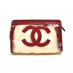 Chanel Red Lambskin Leather & Vinyl CC Logo Cosmetic Travel Case