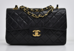 """G-1 Chanel Classic 9"""" Double Flap Black Quilted Leather Shoulder Bag"""