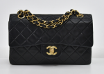 """G-2 Chanel Classic 9"""" Double Flap Black Quilted Leather Shoulder Bag"""