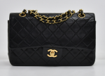 """G-3 Chanel 2.55 Classic 10"""" Double Flap Black Quilted Leather Shoulder Bag"""