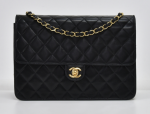 G-4 Chanel 10inch Classic Black Quilted Leather Shoulder Flap Bag