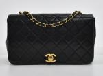 """G-5 Chanel 9"""" Ex Black Quilted Leather Flap Shoulder Bag"""