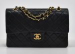 """H-2 Chanel 2.55 Classic 10"""" Double Flap Black Quilted Leather Shoulder Bag"""