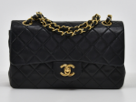 """H-3 Chanel Classic 9"""" Double Flap Black Quilted Leather Shoulder Bag"""