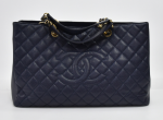 H-4 Chanel GST Navy Quilted Caviar Leather Large Grand Shopping Tote Bag