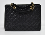 H-5 Chanel GST Black Quilted Caviar Leather Large Grand Shopping Tote Bag