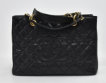 H-6 Chanel GST Black Quilted Caviar Leather Large Grand Shopping Tote Bag