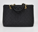 H-7 Chanel GST Black Quilted Caviar Leather Large Grand Shopping Tote Bag