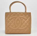 H-9 Chanel Revival Medallion Beige Quilted Caviar Leather Tote Handbag