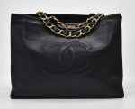 H-10 Chanel Jumbo XL Black Leather Shoulder Shopping Tote Bag