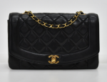 """H-12 Chanel 9.5"""" Diana Classic Black Quilted Leather Shoulder Flap Bag"""